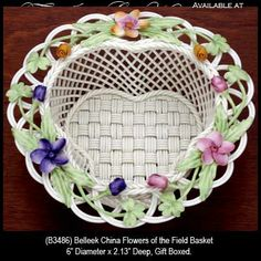 ... irish belleek china flowers of the field basket b3486 irish belleek