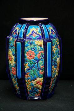 Vase en émaux de Longwy Art déco H. 18,5 cm marqué D 792M