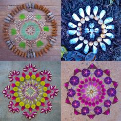 Arizona-based artist Kathy Klein creates temporary mandalas in outdoor locations near her home. She calls the pieces danmalas ('the giver of garlands' in Sanskrit), and each piece is photographed and then left to be discovered by others.