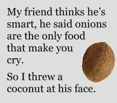 """""""My friend thinks he's smart, he said onions are the only food that make you cry.  So I threw a coconut at his face."""""""