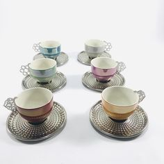 Colorful 6 Espresso Cups Set , Mothers Day Gift , Coffee Mugs With Metal Handle , Luxury Espresso Cup Set , Gift For Coffee Lovers   This coffee set can be an unforgettable gift for your mother  Ceramic Mug (4 oz )  Quality Material  Fast Shipping  Please note the following points while using.  Wash