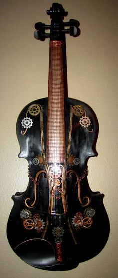 Steampunk ART Black Violin Wallhanging by ModernTextureArt on Etsy