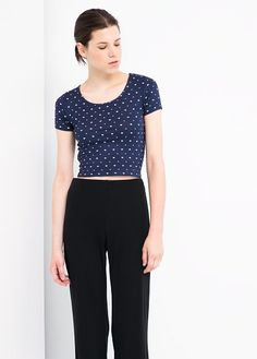 Mango Heart-print cropped top