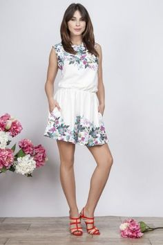 #Milu White Floral Print Pocket Short #Dress. fashionhub.co.za Add #Heels & #Accessories to this #Chic Milu White Floral Print Pocket #ShortDress from #fashionhub by European Luxe brand Milu. Featuring an round Neckline, with a White colour block floral pattern, side pockets and a short length.