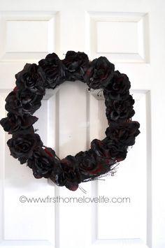 Halloween Dead Rose Wreath firsthomelovelife.com #halloween