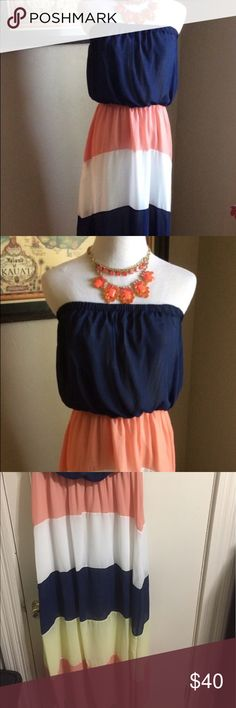 Strapless maxi dress Reposh! Super cute strapless maxi dress with navy, coral, and yellow stripes. I was going to wear this to a bridal shower but changed my mind last minute! Size XL. Dresses Maxi