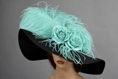 Black Turquoise Wedding Hat Kentucky Derby Hat Bridal Peony