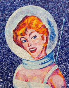"""Buckle up! 16"""" x 20"""" – 100% Recycled Candy Wrappers. #reclaimed #windowpane frame. #recycledart #recycle #space #retro #woman #fishbowl #helmet #pinup #sciencefiction #1950s #redhead #candywrappers #tootsiepop #starburst"""