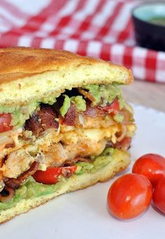 A delicious, healthy, and easy take on a Keto BLT. Bacon, Avocado, and Chicken! On Keto Cloud Bread! Easy Bread Recipes, Lunch Recipes, Low Carb Recipes, Chicken Recipes, Ketogenic Recipes, Cooking Recipes, Healthy Recipes, Radish Recipes, Pescatarian Recipes