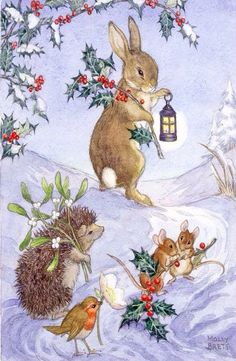 vintage - US Seller Bunny Rabbit, Mice, Bird, Porcupine Winter DIY, Diamond Painting Kit Full Drill Round drills Fast S&H Christmas Scenes, Christmas Animals, Noel Christmas, Vintage Christmas Cards, Vintage Cards, Winter Christmas, Christmas Crafts, Christmas Decorations, Christmas Bunny