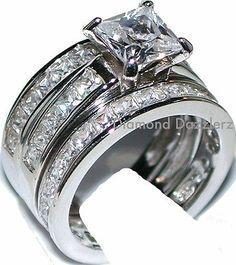 Princess cut Diamond Engagement Ring 3 Band Wedding Set 925 Sterling Silver sz 5