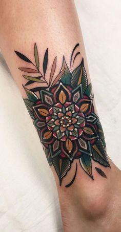 Mandala Tattoo Design, Flower Mandala Tattoo, Tattoo Designs, Colorful Mandala Tattoo, Mandala Tattoo On Back, Mehndi Designs, Colorful Sleeve Tattoos, Tribal Butterfly Tattoo, Nature Tattoos