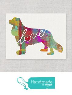 Cavalier King Charles Spaniel Love - An Unframed Canvas Paper / Watercolor-Style, Contemporary & Modern Dog Breed Wall Art Print - Personalization Optional (Ships Free) from traciwithani https://www.amazon.com/dp/B019WPPY7C/ref=hnd_sw_r_pi_dp_bGwcxbPTJEXD6 #handmadeatamazon