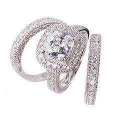 3pc Princess Cushion Cut Cubic Zirconia Halo Bridal Engagement Wedding Ring Set .925 Sterling Silver Size 5,6,7,8,9 $128.99 #bestseller