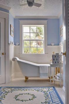 white & gold Slipper clawfoot tub, blue and white bathroom