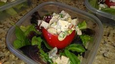 Almond spice chicken salad ¦ Friend That Cooks blog    Roasted chicken tossed with red grapes, celery, green onion, almond slivers, cinnamon, nutmeg, clove, lemon juice and mayo. It's stuffed in a sweet, ripe tomato and served on mixed greens. To go on the greens, I made a fresh strawberry vinaigrette. Healthy meals for busy families, food allergies and dietary restrictions with Weekly Meal Prep from personal chefs in Kansas City and Wichita from www.friendthatcooks.com