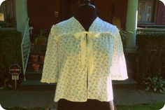 Cute with jeans and boots!  Vintage cotton floral lace eyelet bed jacket shrug by Lagelle