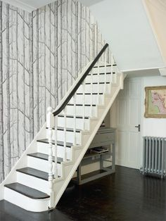 Pre Made Staircases Inspirational Image House Staircase Staircase House S S Media Cache Pinimg Cc Wallpaper Staircase, Wood Wallpaper, Flooring For Stairs, Stair Walls, Style At Home, Stairs And Hallway Ideas, Stair Landing Decor, House Staircase, Staircases