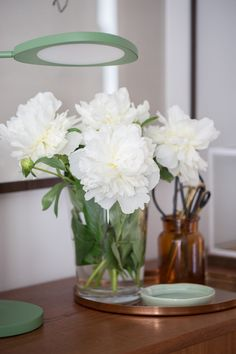 White peonies - traditional flowers and a perfect decoration for my sideboad!
