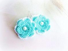 Tiffany blue crochet flower earrings by MalinaCapricciosa on Etsy, $12.00