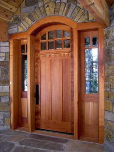 craftsman front doors for homes Custom contemporary craftsman entrance entry door plank style beveled Custom stained to match wood floors The Doors, Wood Doors, Entry Doors, Style At Home, Stained Front Door, Unique Front Doors, Front Entry, Garage Entry, Garage Doors