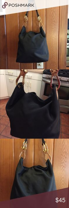 EUC Shoulder bag by JK Paris Beautiful Nylon shoulder hobo with gold hardware and leather strap. Clean inside and out JK Paris Bags Hobos