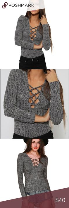 Grey lace up top Brand new with tags!!! Stretchy and fits XS-small perfectly! simplee apparel Tops