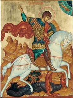 Byzantine Icons, Byzantine Art, Religious Icons, Religious Art, Saint George And The Dragon, Great Warriors, Art Icon, Orthodox Icons, Medieval Art