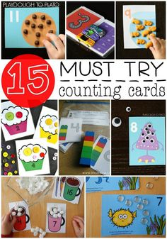 15 Must Try Counting Cards for Kids. Fun, hands-on number recognition, one to one correspondence, fine motor and counting practice.