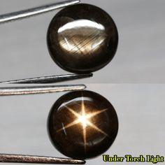 6.38CT.6 RAYS 100% STAR! UNHEATED ROUND CAB BLACK NATURAL SAPPHIRE THAILAND #GEMNATURAL