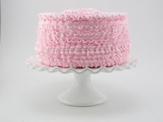 Ruffle Cakes have been the rage for years now serving as creative decor for Birthday Parties, Weddings, Bakeries, etc. For your consideration, 12 Legs is excited to present our faux version of these lovely cakes from our Signature Heavenly Cake Collection. This listing is for an original 12 Legs Curiosities design featuring oh so cute ruffles in 2 designs and a rosette on top of the cake. This lovely cake showcases a lovely light pink hue (Other Colors Available at checkout. If you need a…