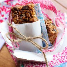 Crispy Gooey Trail Mix Granola Bars on FamilyFreshCooking.com #snack #breakfast #projectlunchbox