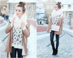 Brown coat, leopard jumper, white scarf