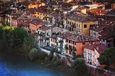A marvelous photograph from above of the intriguing architecture of Verona, Italy- superb composition!! Sure like this!