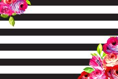 February floral and stripes phone + desktop background wallpapers from May Designs for #iphone, #apple and #android!