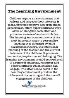 so important, the early experience sets the stage for the child's emerging attitude to learning, down the track.  And it could be a very long track, potentially, if all goes well.