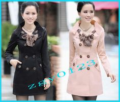 2012 Fashion Women's Double-- breasted Trench Jacket /Coat + (scarf) 4 colors