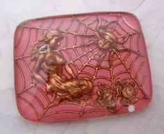 vintage glass reverse painted intaglio pink woman in spider web cabochon from Western Germany 28x22mm - f4864