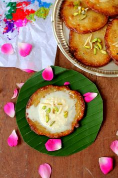 Malpua is one sweetmeat all Biharis swear by for every special event and festival. Its batter is made by mixing flour, milk, sugar and mashed bananas and is deep fried in such a way that the edges go all crispy while the center is all soft. Indian Dessert Recipes, Indian Sweets, Indian Recipes, Andhra Recipes, Sweet Dishes Recipes, Food Dishes, Sweets Recipes, Cake Recipes, Holi Recipes