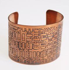 San Francisco City Map Cuff Bracelet