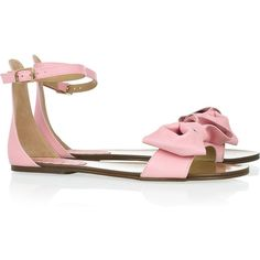 Red Valentino Bow-embellished leather sandals ($295) found on Polyvore