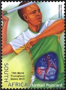 Stamp: Kidney Transplant, Javeling Throw (South Africa) (World Transplant Games) Mi:ZA 2222 Baseball Cards, Postage Stamps, World, Stamps, The World