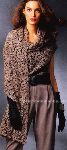 Golden Brown Stole free crochet graph pattern