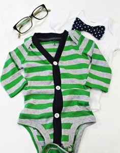 Baby Cardigan Onesie – Green/Navy — Lottie Da Baby