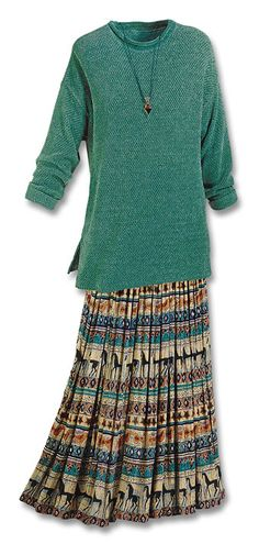 Equine Skirt, Southwest Indian Foundation. Handmade; proceeds go to Native American foundations.  This skirt and a white tank, beige scarf for spring and summer? Yessssss Long Skirt Fashion, Boho Fashion, Fashion Outfits, Native Fashion, Fashion Ideas, Vintage Fashion, Lazy Day Outfits, Modest Outfits, Modest Clothing