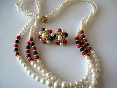 Red White And Blue Vintage Necklace Matching clip on Earrings Estate Jewelry