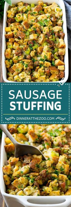 Turkey Stuffing for Thanksgiving - Dinner at the Zoo Turkey Stuffing Recipe Turkey Stuffing Recipes Thanksgiving, Best Thanksgiving Recipes, Thanksgiving Side Dishes, Holiday Recipes, Dinner Recipes, Recipe For Thanksgiving Dinner, Homemade Stuffing With Sausage, Thanksgiving 2017, Thanksgiving Desserts
