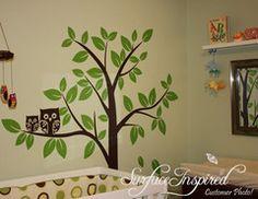 Nursery Wall Decals Baby Owl Tree Wall Decal