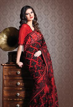 4ca7f817a24025 103394 Red and Maroon color family Party Wear Saree in Faux Georgette  fabric with Resham