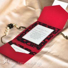 Fancy Flower Red Pocket Wedding Invitations IWPS063